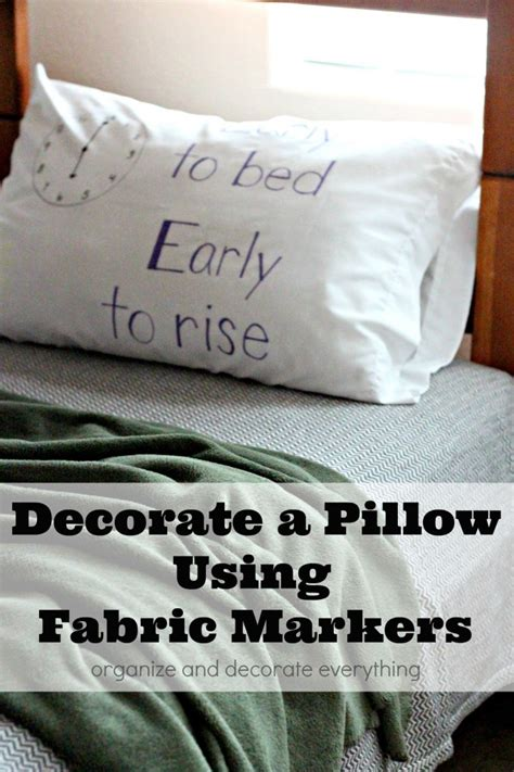 decorate a pillow using fabric markers organize and