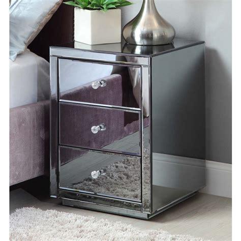vegas smoke mirrored bedside tables dresser tallboy package