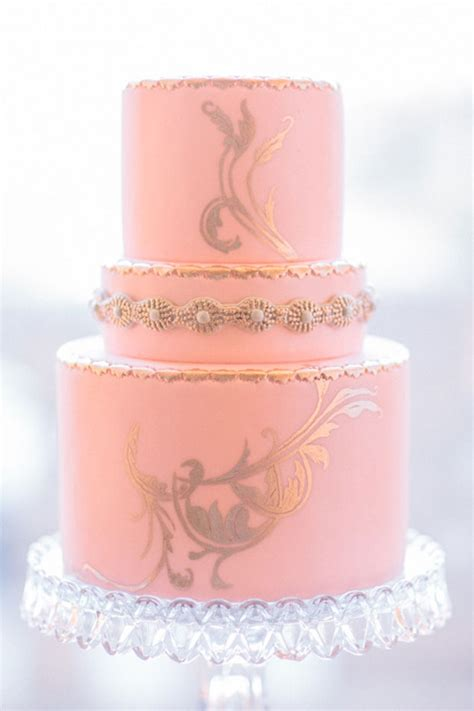 pink and gold cake pink wedding cakes