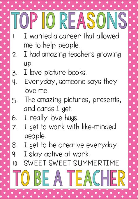 Top 10 Reasons I Became A Teacher  Teaching With Haley O'connor
