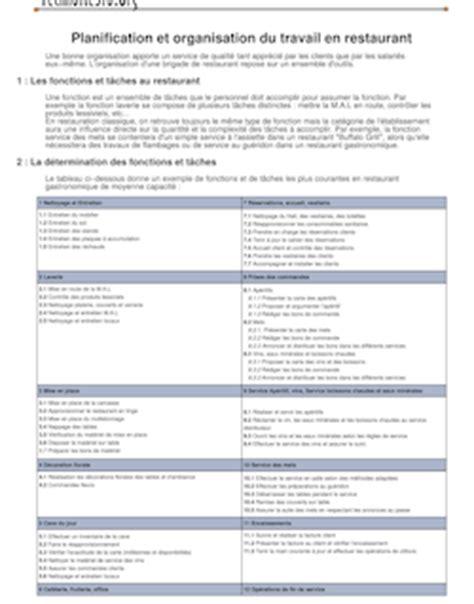 planification et organisation du travail en restauration 2001 toussaint fr 233 d 233 ric cuisine