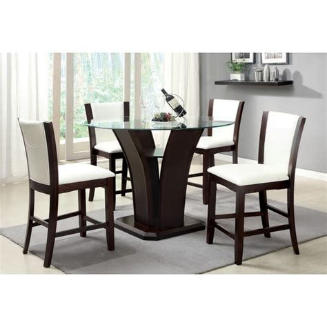 furniture of america carlise contemporary counter height glass 5 dining set free
