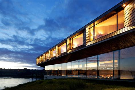 imposing modern hotel with extensive glass facade in chile freshome