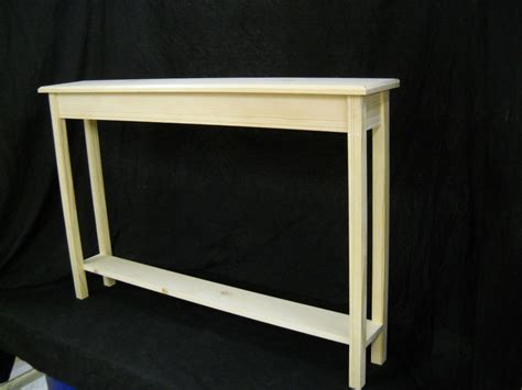 unfinished 46 quot narrow console sofa foyer beveled edge pine table w shelf ebay