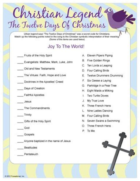 The Twelve Days Of Christmas Trivia Match Game  Christmas Everything Decoratingcrafts