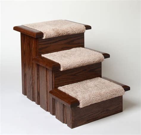 Pet Stairs For Beds by Oak Wood Carpeted Pet Stairs