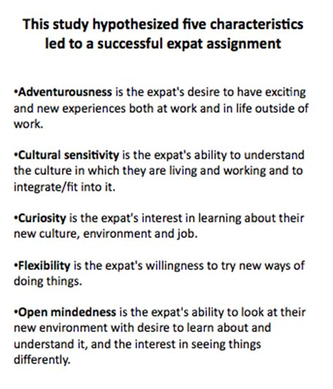 characteristics of successful expatriates unleashing success by identifying and coaching on