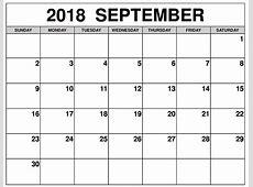 Free September 2018 Calendar – Business Calendar Templates