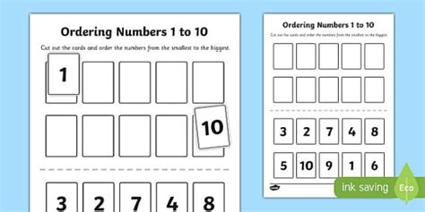 Ordering Numbers 1 To 10 Activity