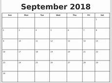 December 2018 Calendar Template September Calendar