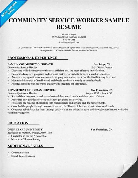 Community Service Worker Resume Sample (http. Coverletter For Resume. Resume Microsoft Office Skills. Samples Of A Good Resume. Sample Cosmetology Resume. Appropriate Resume Font. Sample Resume Warehouse Worker. Sample Resumes For Experienced It Professionals. What Are Good Objectives For A Resume