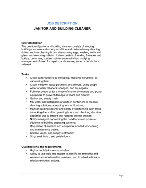 Janitor And Building Cleaner Job Description Template