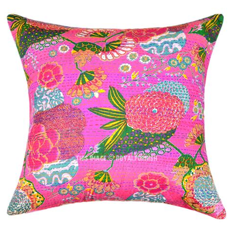 oversize decorative square kantha throw pillow cover boho accent 24x24 royalfurnish