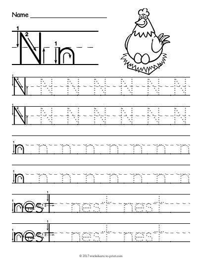 Free Printable Tracing Letter N Worksheet  Tracing Worksheets  Pinterest  Tracing Letters