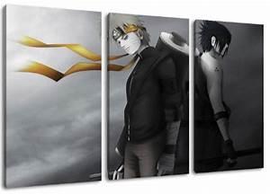 Bild 3 Teilig Auf Leinwand : naruto und sasuke motiv 3 teilig auf leinwand gesamtformat 120x80 cm hochwertiger ~ Markanthonyermac.com Haus und Dekorationen