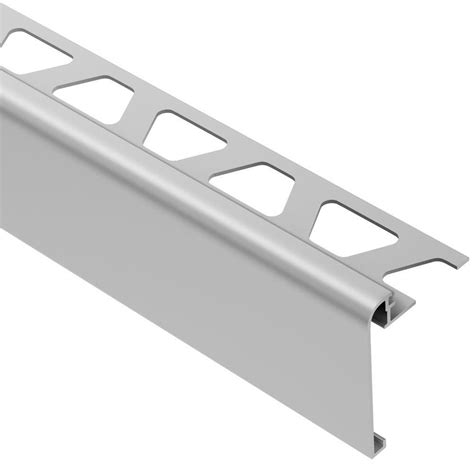 schluter rondec step satin anodized aluminum 3 8 in x 8 ft 2 1 2 in metal tile edging trim