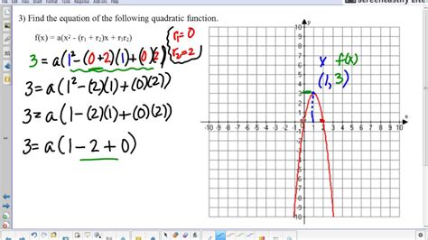 Kateho » Writing A Quadratic Function From A Graph (example 3 From 107  Graphing Quadratics