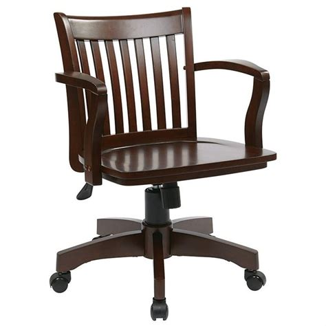 wood banker s office chair with wood seat in espresso 105es
