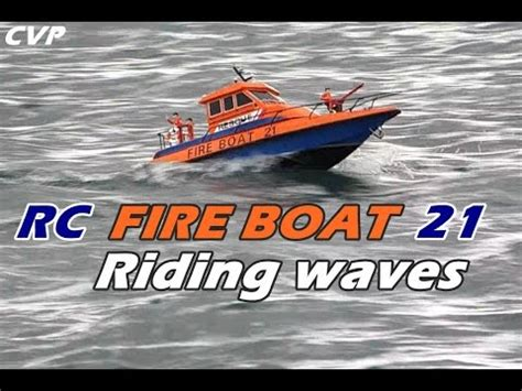 Rc Fire Boat Youtube by Cvp Rc Fire Boat Riding Waves Youtube