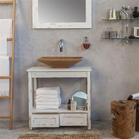 console mobile pour salle de bains design en bois cottage