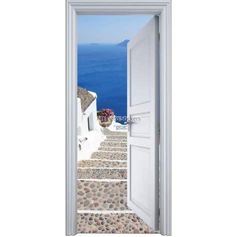 sticker porte trompe l oeil l escalier sur la mer 90x200cm stickers muraux deco