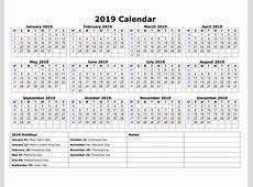 Free 2019 One Page Calendar Printable January 2019 Calendar
