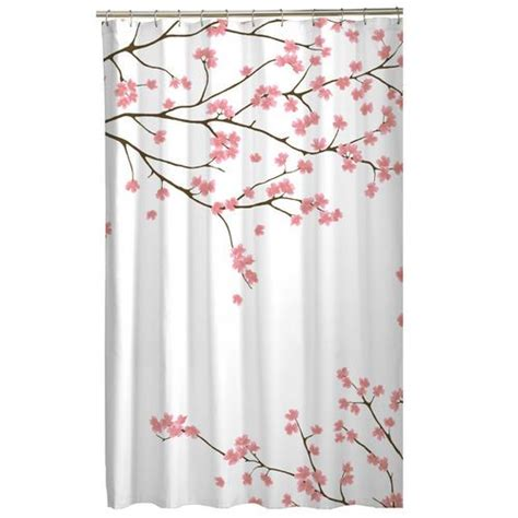 floral pink cherry blossom asian fabric shower curtain
