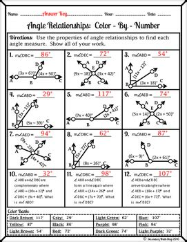Angle Relationships Colorbynumber Worksheet By Secondary Math Shop