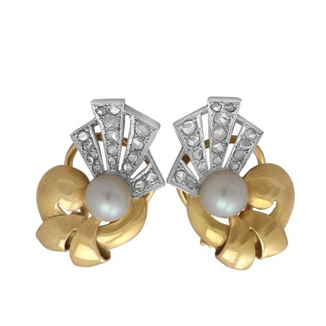 0 42ct and pearl 18k yellow gold stud earrings deco style vintage for sale at