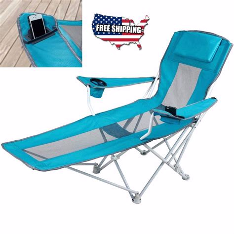 reclining folding cing chair with footrest stool chaise outdoor lounger ebay