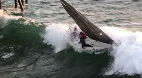 Redondo Beach Boat Crash Into Pier by Crew Jumps Ship Seconds Before Sailboat Capsizes Smashes