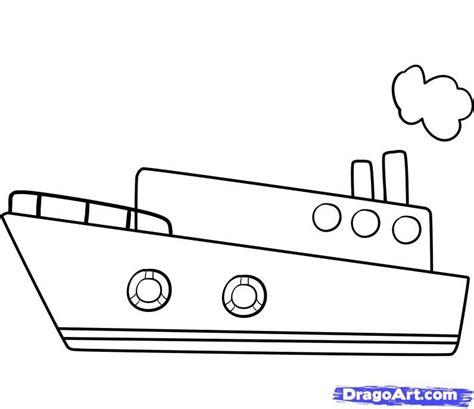 How To Draw A Cartoon Boat Step By Step by Simple Boat Drawing Draw A Ship Step By Step Boats