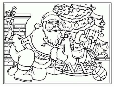 coloriage pere noel sapin