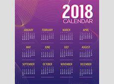 Purple 2018 calendar with wavy lines vector 01 free download