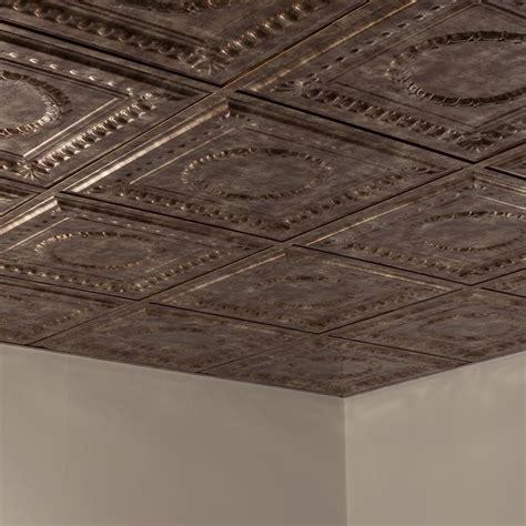 fasade ceiling tile 2x2 suspended rosette in bermuda bronze