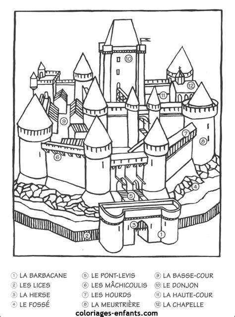 un ch 226 teau fort 224 colorier chateau colorier ch 226 teaux et histoire