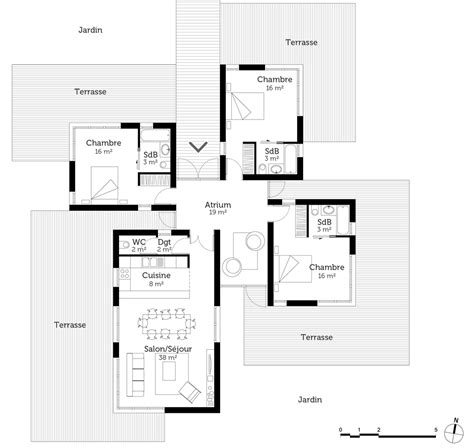 plan maison contemporaine 120 m 178 ooreka