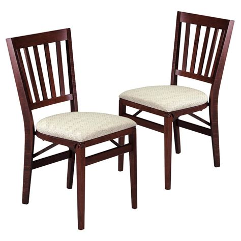 stakmore school house wood folding chairs with upholstered seat set of 2 fruitwood at hayneedle