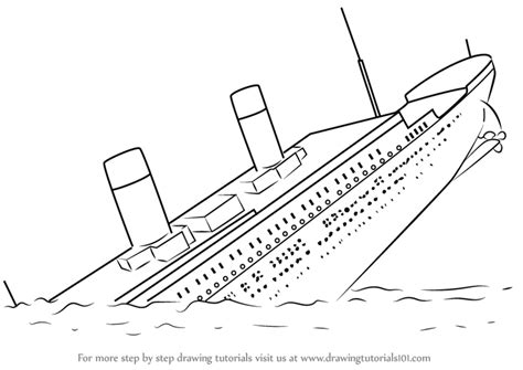 How To Draw A Cartoon Boat Step By Step by Learn How To Draw Titanic Sinking Boats And Ships Step