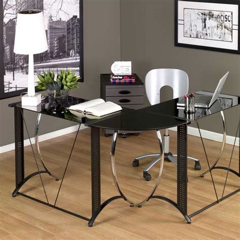 Black Contemporary Stylish Computer Desk Workstation With