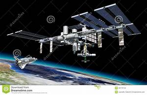 Space station in orbit around Earth, with Shuttle.