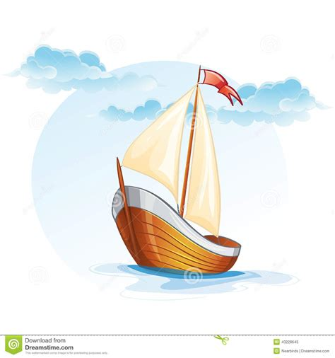Cartoon Wood Boat by Cartoon Image Of A Wooden Sailing Boat Stock Vector