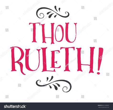 thou ruleth modern lettering stock vector 561500065
