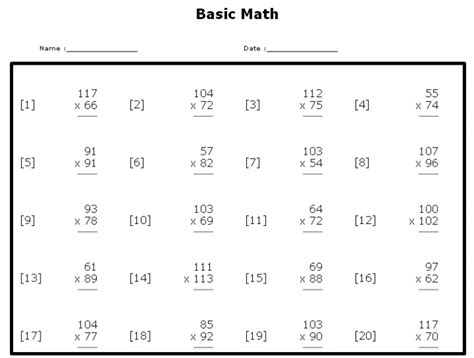 Year Sixth6th Grade Math Worksheets Printable