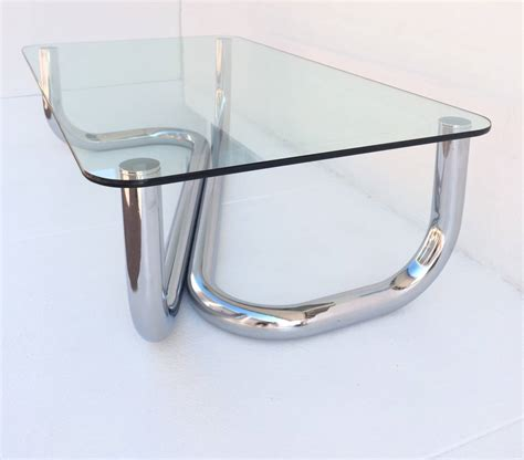 1960s Italian Polished Chrome And Glass Coffee Or Cocktail