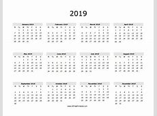 2019 Calendar One Page yearly printable calendar