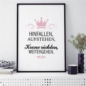 Spruch Krone Richten : poster hinfallen aufstehen krone richten weitergehen mit rahmen ~ Markanthonyermac.com Haus und Dekorationen