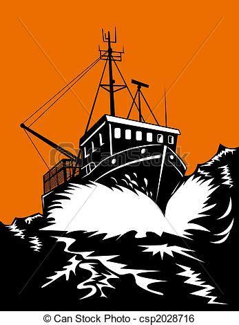 Dibujo Barco En Tormenta by Stock De Ilustracion De Barco Pesca Tormenta