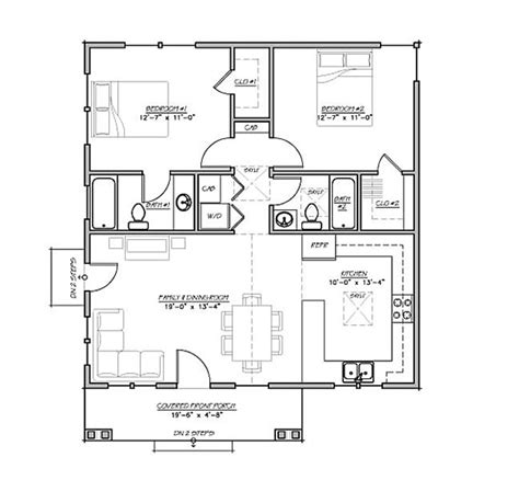 craftsman style house plan 2 beds 2 baths 930 sq ft plan