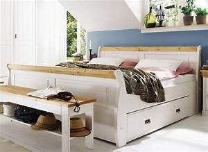 Landhaus Betten Holz : doppelbett mit schubladen bett 180x200 wei gelaugt holz kiefer neapel ~ Markanthonyermac.com Haus und Dekorationen